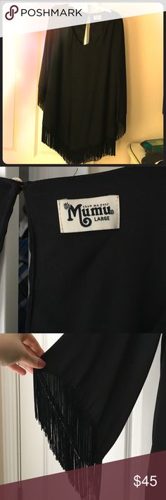 Show Me Your Mumu Rodeo Dress Black dress with bell fringe sleeves and triangular cut for front and back. Dress fits a bit smaller than a true large. There is a stitch imperfection on the back opening. Show Me Your MuMu Dresses High Low