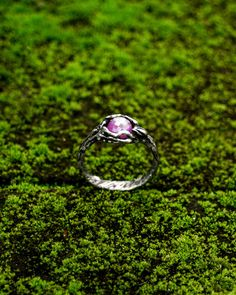 Silver Ruby engagement ring, twig flower bud ring, tree branch ring, rose cut gemstone http://etsy.me/2HODKo0 #jewelry #ruby #ring #silver #round #pink #women #yes #stone #etsy #shop #cobali