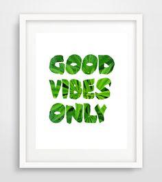 Good vibes only Marijuana Poster  Marijuana Art Print by Ikonolexi