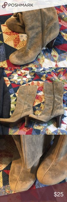 Fossil brown distressed boots Fossil brown distressed boots. Some wear on the heels shown in the picture. This are so cute with jeans! Fossil Shoes Heeled Boots