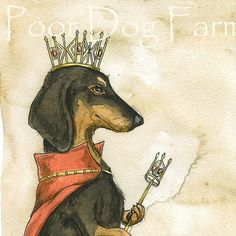 This is definitely how Milli sees herself. Dachshund Queen an original hand painted queen by poordogfarm, $20.00