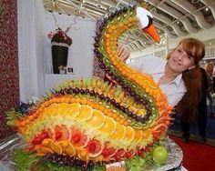 Anatra fatta con la frutta