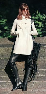 black leather boots + a white coat- Freja Beha by Terry Richardson