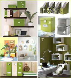 lime green black and white damask office home decor DIY Ikea ...