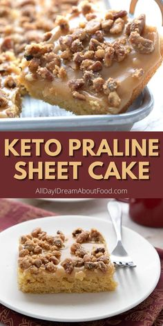Oh my, this keto praline sheet cake is absolutely to die for. It's tender and fluffy, with a rich sugar free caramel glaze and a generous sprinkle of pecan pralines. It's a classic southern dessert made healthier! Sugar Free Sweets, Low Carb Sweets, Low Carb Desserts, Ketogenic Desserts, Keto Friendly Desserts, Cupcake Recipes, Cupcake Cakes, Cupcakes, High Protein Recipes