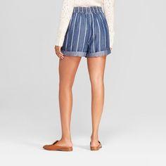 66e25e57a2397 Women s Tie Waist Stripe Shorts - Universal Thread Indigo Xxl
