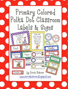 Primary colored polka dot classroom labels and signs. Love me some primary colors and polka dots!