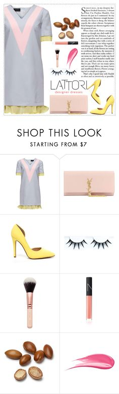 """""""LATTORI dress 21"""" by mell-2405 ❤ liked on Polyvore featuring Lattori, Yves Saint Laurent, NARS Cosmetics, Hourglass Cosmetics, women's clothing, women's fashion, women, female, woman and misses"""