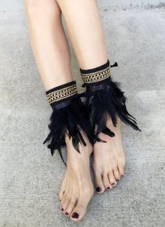 Black Feather Boot Covers for Women Feather by GoToBoutique