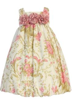Dusty Rose & Ivory Vintage Floral Print Cotton Easter & Spring Bubble Dress (Baby or Toddler Girls)