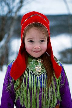 Sami people, an indigenous community who live across northern Norway, Sweden, Finland and the Kola Peninsula in Russia. Precious Children, Beautiful Children, Beautiful People, We Are The World, People Around The World, Folk Costume, Costumes, Namaste, Photographs Of People