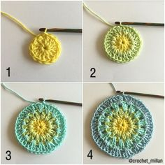 Pattern in English and Swedish. Magnolia mandala is the first flower in my mandala garden. I hope you will enjoy this mandala flower. Inspiration for color combinations can you find here. Easter Crochet Patterns, Crochet Dolls Free Patterns, Crochet Mandala Pattern, Crochet Stitches Patterns, Crochet Designs, Stitch Patterns, Crochet Dishcloths, Crochet Yarn, Crochet Flowers