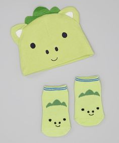 Take+a+look+at+the+Lovespun+Green+Dinosaur+Beanie+&+Socks+on+#zulily+today!