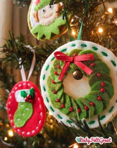 Your place to buy and sell all things handmade Felt Christmas ornaments patterns felt Christmas ornaments image 5 Red Christmas Ornaments, Felt Christmas Decorations, Christmas Crafts, Christmas Sangria, Christmas Tree, Etsy Christmas, Father Christmas, Homemade Christmas, Felt Ornaments Patterns