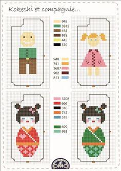 Pays - country - kokeshi - point de croix - cross stitch - Blog : http://broderiemimie44.canalblog.com/