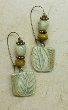 Luscious Colors Porcelain Leaf and Bead Earrings by SlinginMud, $25.00