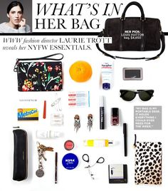 WHO WHAT WEAR: See inside our Fashion Director's handbag during fashion week. Purse Essentials, Fashion Essentials, Travel Essentials, What In My Bag, What's In Your Bag, Louis Bag, Inside My Bag, What's In My Purse, Work Bags