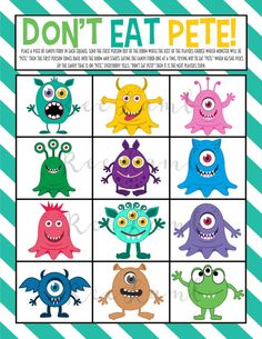 Don't Eat Pete Printable for Kids! Games For Small Kids, Small Group Games, Youth Group Activities, Youth Group Games, Creative Activities For Kids, Family Games, Toddler Activities, Monster Games For Kids, Food Games For Kids