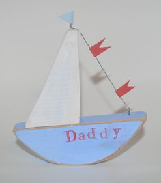 """Fathers day gift """"Daddy"""" boat by upcycle art creations"""