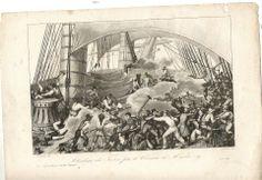 """Un corsaire à l'abordage,  gravure  de la """"France Maritime"""",1840"""