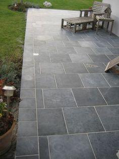 - The blue stones - Patio Slabs, Patio Tiles, Paved Patio, Outdoor Tiles, Outdoor Flooring, Modern Backyard, Modern Landscaping, Backyard Patio, Backyard Landscaping