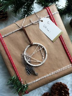 Mini Dreamcatcher Ornament - Boho Christmas Ornament - Bohemian Holiday Gift Topper - Modern Rustic Dream Catcher - Modern Cabin Decor by BastandBruin on Etsy https://www.etsy.com/listing/256617706/mini-dreamcatcher-ornament-boho
