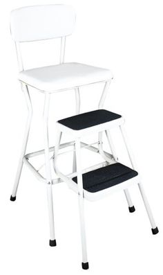 Cosco Steel Chair Step Stool with Slide Out Steps 200 lb. Load at The Home Depot Retro Bar Stools, 24 Bar Stools, Swivel Bar Stools, Retro Chairs, Counter Height Chairs, Counter Stools, Counter Top, Kitchen Step Stool, Step Stools