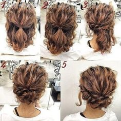 Romantic-Easy-Updo-Hairstyle-Tutorial-for-Short-Hair-Sweet-and-Simple-Prom-Hair-. - Romantic-Easy-Updo-Hairstyle-Tutorial-for-Short-Hair-Sweet-and-Simple-Prom-Hair-Styles Up Dos For Medium Hair, Medium Curly, Medium Length Hair Updos, Short Curly Hair Updo, Updos For Medium Length Hair Tutorial, Hairstyle Short, Shoulder Length Hair Updos, Short Hair Updo Tutorial, Curly Short
