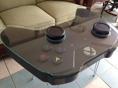 Handmade Game Controller Table, XBOX One inspired - Handmade coffee table inspired by the Xbox One gaming controller. Steel hairpin legs shown in the p - Game Controller, Deco Gamer, Video Game Rooms, Video Game Decor, Video Game Man Cave Ideas, Video Game Table, Teen Game Rooms, Video Game Bedroom, Small Game Rooms