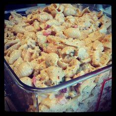 The popular Seafood Salad made for a Bridal Shower #ddcatering --  Ingredients: Crab meat, small/medium salad size shrimp, chopped boiled eggs, red bell pepper, onion, celery, sweet relish, mayo, mustard, old bay seasoning, and little salt & red pepper flakes, your choice of pasta. I like the sea shells!
