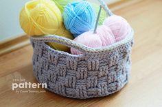 Crochet PATTERN Big Crochet Basket Pattern No. 009 by ZoomYummy