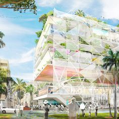 Ecosistema Urbano has won first place in a competition to revamp the waterfront of Florida's West Palm Beach, with a proposal for domed multi-purpose spaces West Palm Beach Florida, Green Building, Competition, Fair Grounds, Architecture, Places, Proposal, Design, Madrid