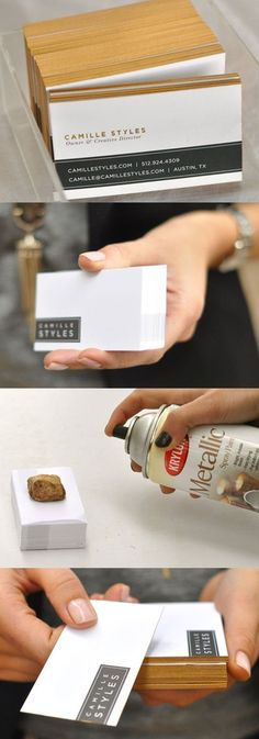 DIY Gold Edge Painted Business Cards For A Lifestyle Blogger
