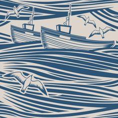Whitby by Mini Moderns - Washed Denim - Wallpaper : Wallpaper Direct Denim Wallpaper, Nautical Wallpaper, Seaside Wallpaper, Boat Wallpaper, Linoprint, Ecole Art, Art Graphique, Coastal Style, Coastal Living