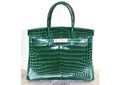 Hermes Emerald Green Vert Fonce Crocodile Porosus 30cm Birkin Bag