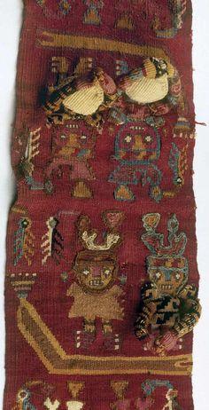 Textil Chimú -Perú - 1100 a 1400 DC Banda con embarcación y tripulantes