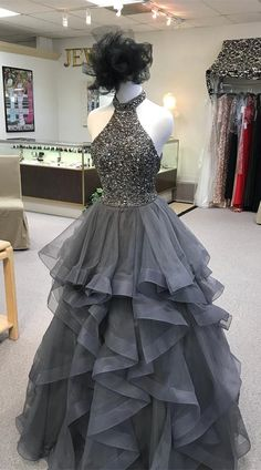 high neck long prom dress, 2018 grey prom dress, prom dress with open back, party dress