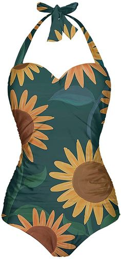 Angerella Womens Cute Sunflowers Pattern Summer Halter One Piece Swimsuit, S at Amazon Women's Clothing store