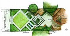 Diagonal square lawn fits garden design theme and widens impression of the garden.