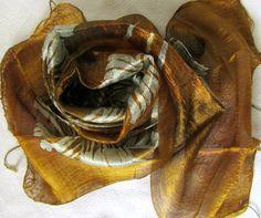 Silk scarf-Handwoven-Hand dyed-Batik scarf-Handmade-Natural silk-Pure raw…