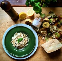 My favourite #artichoke dish with sliced parmesan, olive oil, lemon, salt and pepper... A tasty fresh #appetizer! #cooking #recipe
