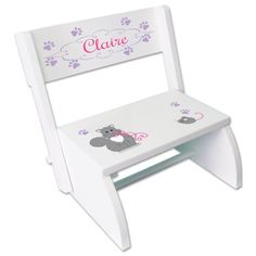 Personalized Little Kitty Cat Step Stool features our exclusive design in pinks and lavender and your personalization. Our classic Flip Stool shown here in white but also available in espresso and natural. Personalized for free and easy to assemble, it makes a fantastic baby gift or first birthday gift. A gift that will be cherished and USED! Indicate personalization at checkout  **FREE Personalization - give NAME (nickname or short message 18 characters max.) in the NOTE TO SELLER field at…