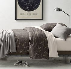 Oh man. I want these. BADLY. Night Sky & European Vintage-Washed Percale Bedding Collection