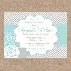 Heathers shower invitation  Etsy listing at http://www.etsy.com/listing/153811144/gray-and-tiffany-blue-chevron-bridal