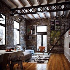Sfeervolle industriële loft slaapkamer | Ideas for the House ...