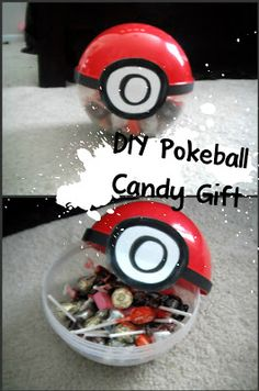 DIY Pokeball Candy Gift. Cute for a kid's birthday party or as party favors!