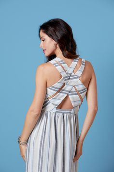 Introducing Lisette for Butterick summer sundress with an interesting criss-crossed back detail. Princess Seam, How To Introduce Yourself, Gingham, Looks Great, Office Designs, Sewing Ideas, Sassy, Model, How To Wear