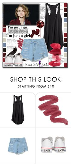 """Beautifulhalo V/4"" by ana-a-m ❤ liked on Polyvore featuring MAKE UP FOR EVER, Converse, Rossetto, women's clothing, women, female, woman, misses, juniors and beautifulhalo"