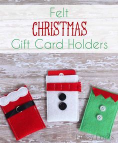 To make gift card giving a little more fun this year, I made these felt DIY gift card holders. There's a Santa, a snowman, and an elf! Aren't they cute?! Great for hostesses, for kids, for neighbors, or for coworkers.