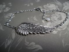 Anklet Angel Wing Anklet Your Angel Silver with by whitedovejewels. $28.00, via Etsy.